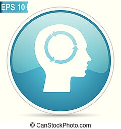 Head blue glossy round vector icon in eps 10. Editable...