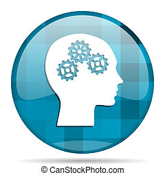 head blue round modern design internet icon on white background