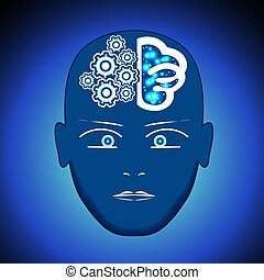 Head, Brain, Gears, process of thinking human.