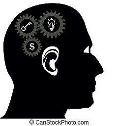 Head brain vector icon