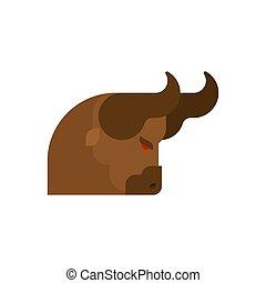 Head bull angry isolated. Tribal bull vector