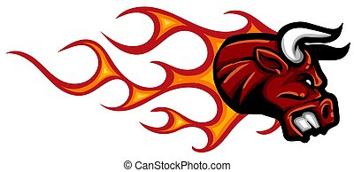 head Bull with flames vector illustration design