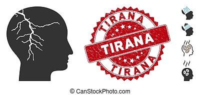 Head Cancer Icon with Distress Tirana Seal
