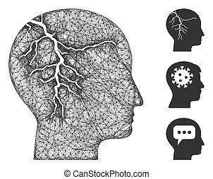 Head Cancer Polygonal Web Vector Mesh Illustration