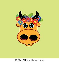 cow with wreath of flowers - Head cartoon cow with wreath of...