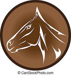 head., cavallo, vettore, cartone animato