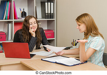Head closed her eyes in shame, her client reads the contents of the document