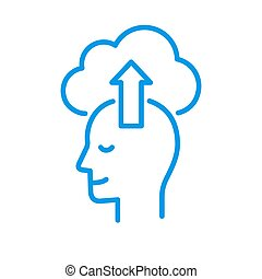 Stylized head profile with upload to cloud. Simple silhouette line icon or logo.