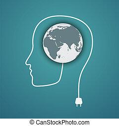 Head concept. Plug the green earth