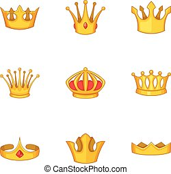 Head crown icons set, cartoon style