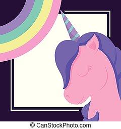 head cute unicorn with rainbow of fairy tale