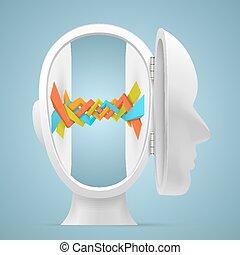 head., dentro, vettore, collegamento, illustrazione