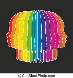 head - abstract illustration of a head as colorful slices