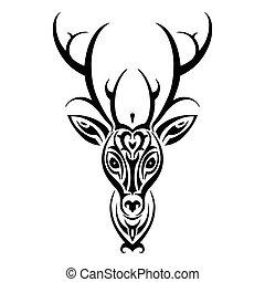 head., estilo, venado, polynesian, tatuaje