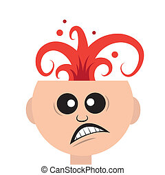 Head Explosion - Isolated man's head exploding like a...