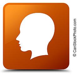 Head female face icon brown square button