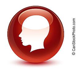 Head female face icon glassy brown round button