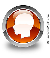 Head (female face) icon glossy brown round button