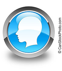 Head (female face) icon glossy cyan blue round button