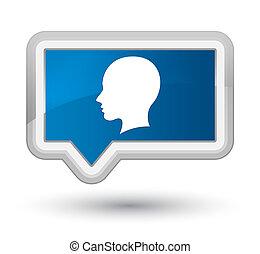 Head female face icon prime blue banner button