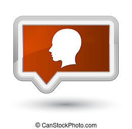 Head female face icon prime brown banner button