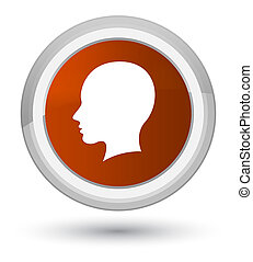 Head female face icon prime brown round button