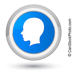 Head female face icon prime cyan blue round button