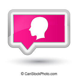 Head female face icon prime pink banner button