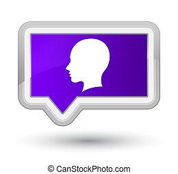 Head female face icon prime purple banner button
