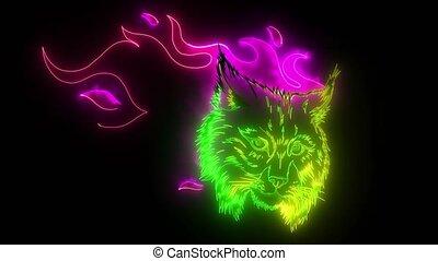 head ferocious lynx on flame svideo