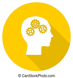 head flat design yellow web icon