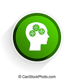 head flat icon with shadow on white background, green modern design web element