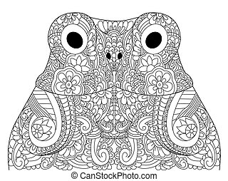 Head froggy coloring book vector illustration. Anti-stress coloring for adult toad. Zentangle style. Black and white lines hoptoad. Lace pattern anuran