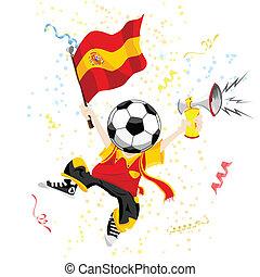 head., fußball ball, fächer, spanien