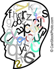head full of letters