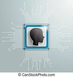 Head Futuristic Processor Circuit Board Infographic