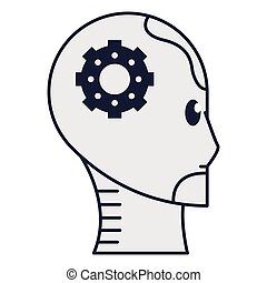 Head gear robot in black and white vector illustration graphic design