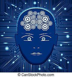 Head, gears in form of brain,circuit board background