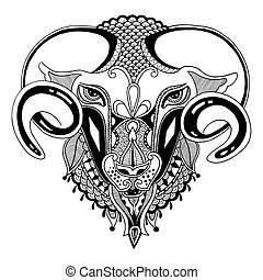 head goat symbol of 2015 year, decorative drawing in ethnic style, vector illustration