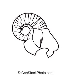 head Goat vector on white background