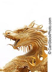 Head Golden dragon statue.