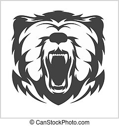 Head grizzly Brown Bear in tribal style - isolated on white