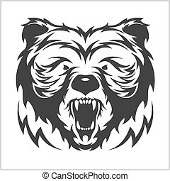 Head grizzly Brown Bear in tribal style