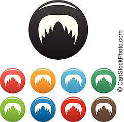 Head hair icons set color vector