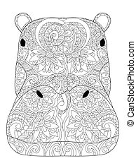 Head hippopotamus coloring vector for adults - Head...