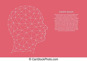 Head human silhouette from abstract futuristic polygonal white lines and dots on pink rose color coral background for banner, poster, greeting card. Vector illustration.