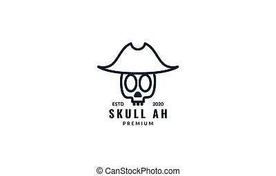 head human skull line with hat logo design
