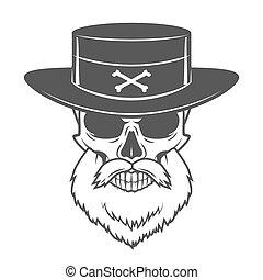 Head hunter skull with beard and hat vector. Rover logo...
