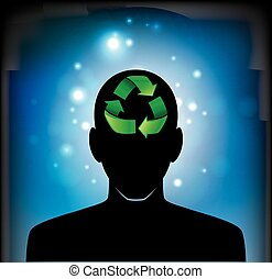 head icon with a recycle