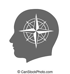Head icon with compass rose sign in silhouette